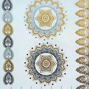 Henna-inspired Metallic Flash Temporary Tattoos Mandala Tattoo Gold Silver Black