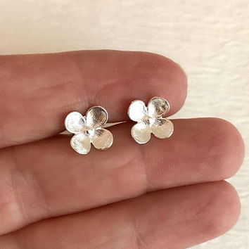 Dainty Silver Flower Earrings, 925 sterling studs small pierced post hypoallergenic floral gift for her wife girlfriend