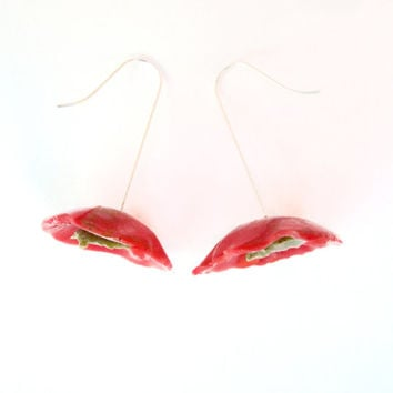 Abstract Red Green Floral Earrings, Red California Poppy Earrings, Colorful Earrings, Modern Flower Jewelry, OOAK Sterling Silver Earrings