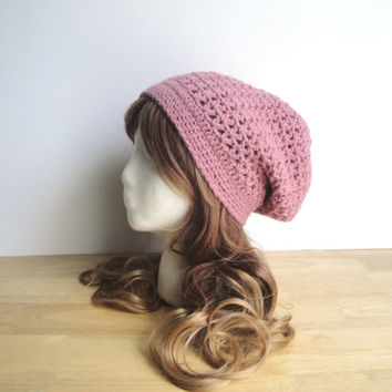 Crochet Slouch Hat, Rose Pink, Slouchy Hat Beanie, Women Teen Girls, Lacy Cute Chic