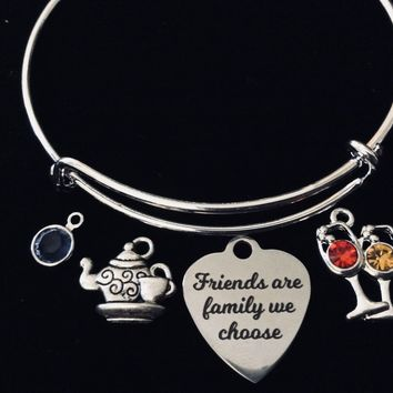 Custom Friends are Family We Choose Teapot Silver Expandable Charm Bracelet Bangle Silver Adjustable Jewelry BFF One Size Fits All Gift