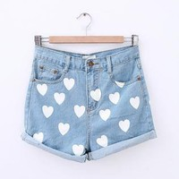 Starry Heart Printed Jeans