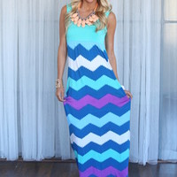 Chevron Bliss Maxi Dress Sky Blue