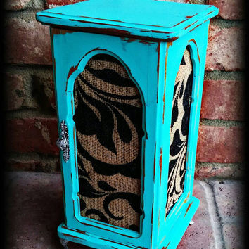 Shabby chic jewelry armoire, shabby chic jewelry box, rustic jewelry box, turquoise jewelry box, jewelry box, girls gift, women's gift