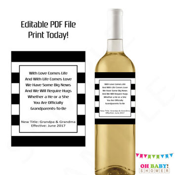 Pregnancy Reveal to Grandparents Printable Wine Label Pregnancy Announcement Wine Label Editable Grandparents Baby Reveal Ideas Personalized