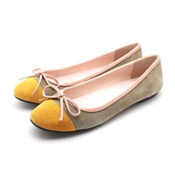 Two tone Suede Ballet Flats (Beige)
