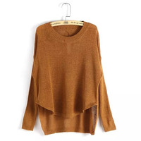 Asymmetrical Long-Sleeve Pullover Knitted Shirt