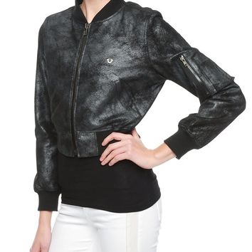 True Religion Foiled Leather Womens Bomber Jacket - Pewter