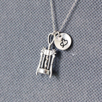 Wine Bottle Opener Necklace. Personalized Initial Necklace. friendship jewelry.Sterling Silver Necklace. No.180