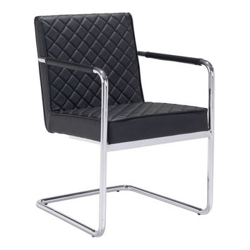 Quilt Dining Chair Black Chromed Steel