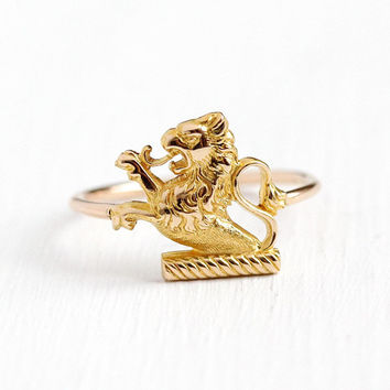 Rampant Lion Ring - Antique 14k Rosy Yellow Gold Fierce Figural Statement - 1910s Vintage Size 5 1/2 Stick Pin Conversion Cat Fine Jewelry