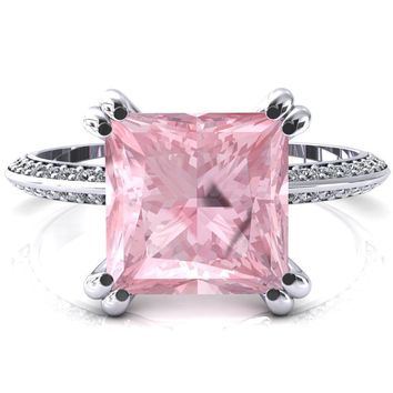 Nancy Princess Pink Sapphire 4 Double Prong 1/2 Eternity Diamond Knife Shank Accent Engagement Ring