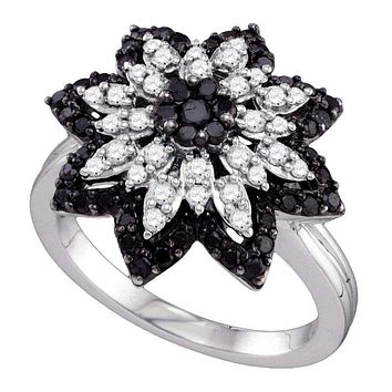 10kt White Gold Women's Round Black Color Enhanced Diamond Flower Cluster Ring 7/8 Cttw - FREE Shipping (US/CAN)