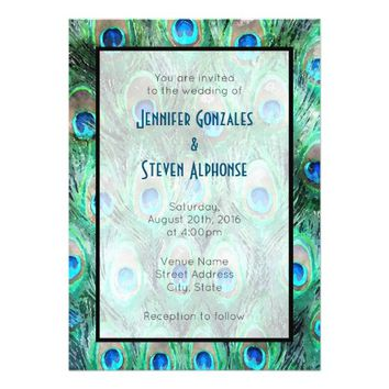 Peacock Feathers Exotic Watercolor Wedding Invite