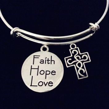 Faith Hope Love Filigree Cross Adjustable Bracelet Double Sided Expandable Silver Charm Bangle Religious Gift