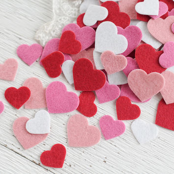 Felt Heart Stickers - Pink, Red, and White Die Cut Valentine's Day Hearts - 100 Pcs.