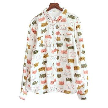 Playful Cat Head Print Turn Down Collar Long Sleeve Cotton Yarn Shirt Blouse Female