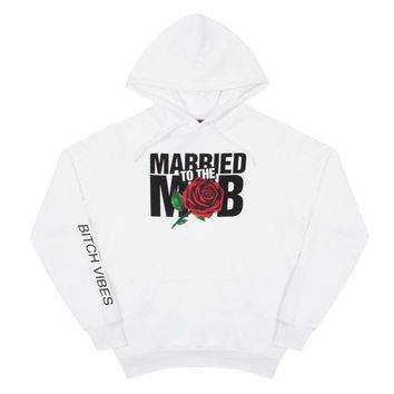 The Married to the Mob Rose Knit Pullover Hoodie in White