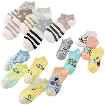 5 Pairs/lot Women Sock Candy Color Star Stripe Low Cut Breathable Stretchy Ankle Socks Summer Thin Invisible Cartoon Cotton Sock
