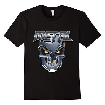 Heavy Metal Rock Skull Head Banger Biker T-Shirt