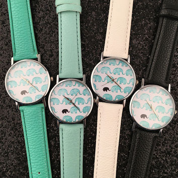 band leopard grande slay strap watches wristwatch pu watch leather cat mint fashion accessories print glasses ladies products green
