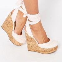 ASOS ORACLE Tie Leg Wedges at asos.com
