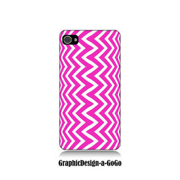 Iphone 4 case, Iphone 4s , Pink and White Zig Zag, custom cell phone case, Original design