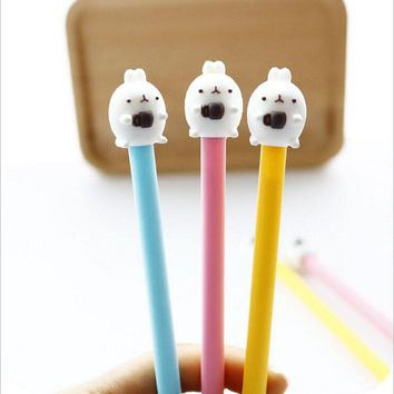 E35 3X Kawaii Molang Rabbit Gel Pen School Office Supply Writing Signing Pen Student Stationery Black Ink
