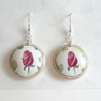 Lovely Dangle Rose Earring, Wooden Earring, Sterling Silver Drop Earrings, Miniature Painting on Wood, Rose, Arts and Craft Jewelry