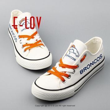 Factory Direct Sale 2017 New Arrival for Denver Broncos NFL Super Bowl Fans Customize Canvas Shoes Print Men Boys Casual Shoes