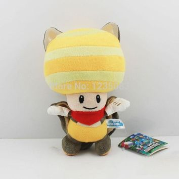 "Super Mario party nes switch New  Bros. U Plush Flying Squirrel Yellow Toad Soft Toy Teddy Doll 8"" AT_80_8"