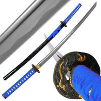 Katana w- Blue Dragon Tsuba and Scabbard - 40 inch