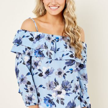 Hearts And Flowers Blue Print Off The Shoulder Top