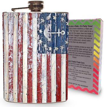 Nautical American Flag Flask Stainless Steel 8oz Hip Flasks for Drinking Whiskey Liquor Alcohol Vodka Flasks Sailing Boats USA - Gift Box