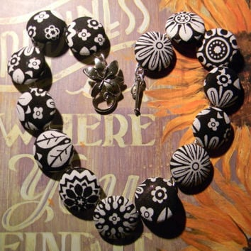 Fabric Button Necklace  Black/White Flowers by siljewel on Etsy