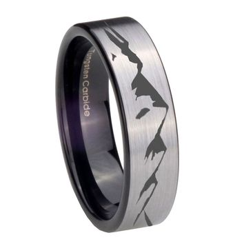 8MM Silver Black Sound Wave I love you Pipe Cut Tungsten Carbide Laser Engraved Ring