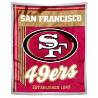 San Francisco 49ers NFL Mink Sherpa Throw (50in x 60in)