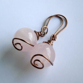Gemstone Earrings. Rose Quartz Jewelry. Wire Wrapped Earrings. Antiqued Copper Jewelry. Hypoallergenic Niobium Option.
