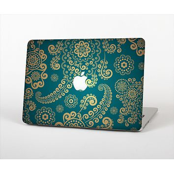 The Green & Gold Lace Pattern Skin Set for the Apple MacBook Air 13""