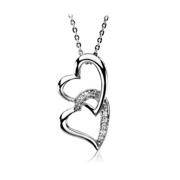 Rhodium Plated Sterling Silver & CZ, Like a Sister Necklace, 18 Inch
