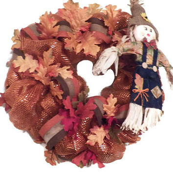 Fall Deco Mesh Wreath, Fall Door Hanger, Fall Decoration, Ready To Ship