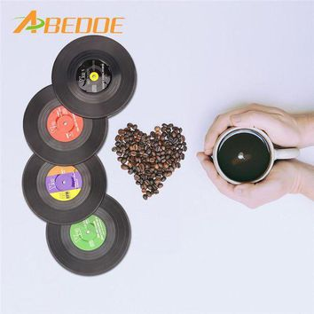 MDIGYN5 ABEDOE 4 Pcs Home Table Cup Mat Creative Decor Coffee Drink Placemat for Table Spinning Retro Vinyl CD Record Drinks Coasters