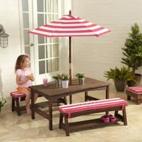 Outdoor Table and Bench Set Pink and White