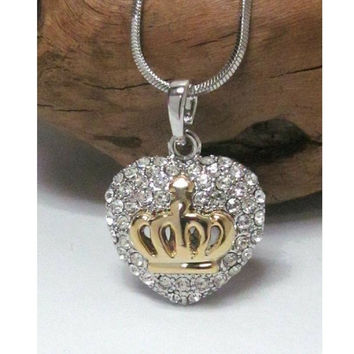 Puffed Crystal Silver Heart and Gold Crown Necklace