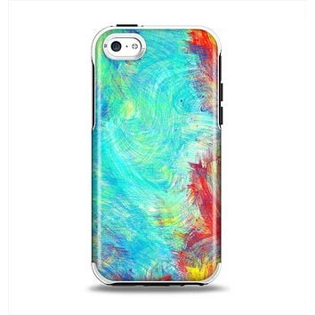 The Vibrant Colored Messy Painted Canvas Apple iPhone 5c Otterbox Symmetry Case Skin Set