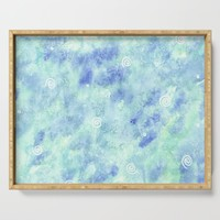 Blue lagoon watercolor Serving Tray by savousepate