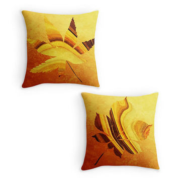 Golden Leaf Throw Pillow, Fall, Autumn Scatter Cushion, 16x16, Cushion Cover