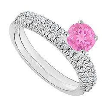 14K White Gold : Pink Sapphire and Diamond Engagement Ring with Wedding Band Set 1.00 CT TGW