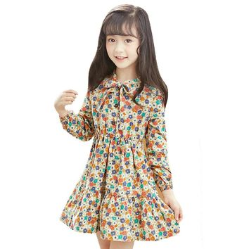 Children Princess Dresses For Girls Costumes Cotton Floral Dress For Party School Uniforms 2017 Autumn Kids Bottoming Dress 4-12
