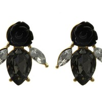 Black Rose Post Pin Earring